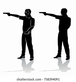 isolated silhouette of a shooter of a gun , black and white drawing, white background