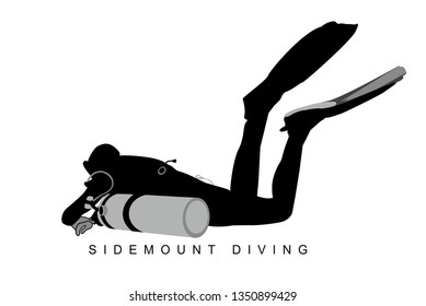 Isolated silhouette of a sidemount TEK diver with tanks beside: view from aside