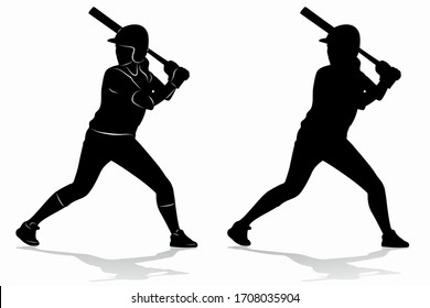 isolated silhouette of a softball woman player, black and white vector drawing, white background