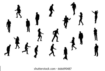 isolated, silhouette of walking people