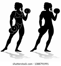 isolated silhouette of woman bodybuilder with dumbbells. black and white drawing on a white background
