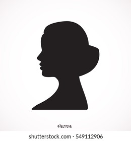 Isolated silhouette of woman head with bun