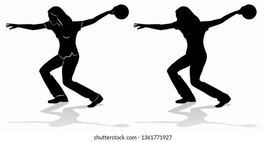 isolated silhouette of woman playing bowling . black and white drawing, white background
