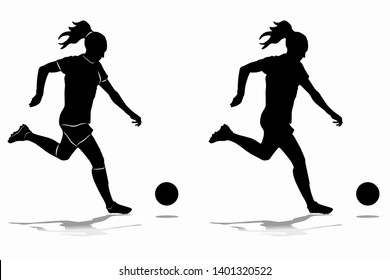 isolated silhouette of woman soccer player , black and white drawing, white background