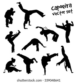 Isolated silhouettes capoeira fighting. Vector set for design