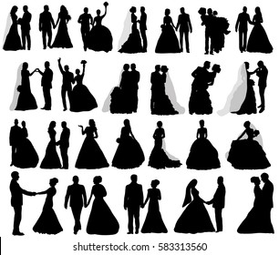 isolated silhouettes collection wedding groom and bride