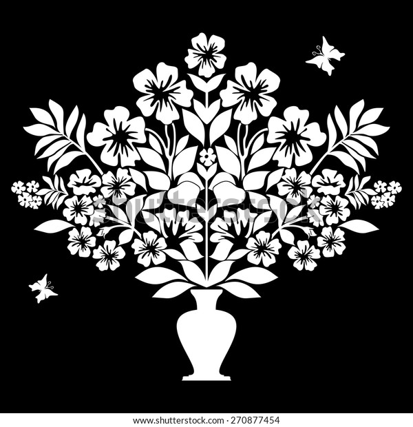 Isolated Silhouettes Flowers Vase Black White Stock Vector Royalty Free 270877454