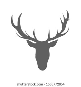 Isolated silhouettes head of deer, elk and reindeer on white background. Large beautiful asymmetrical horns of a wild animal.