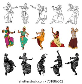 Isolated silhouettes of indian dancers. Vector stock illustration for design on white background