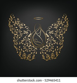 Isolated silhouettes of mother and child with angelic ornamental wings and nimbus. Beautiful golden applique on a dark background. Abstract floral design. The Assumption of Mary.