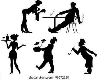 Isolated silhouettes of people the restaurant business on a transparent background