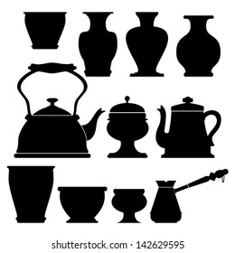 Isolated Silhouettes of Vases and Pottery, Vector Version