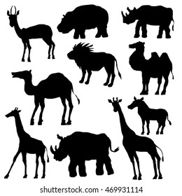 isolated silhouettes of wild animals, camels and giraffes, antelope and zebra, lion, hippo and rhino, hand drawn vector illustration