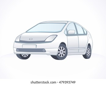 Isolated Silver Car. Vector Sport car.