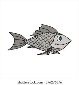 isolated silver fish, cartoon vector