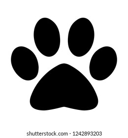 Isolated simple black cat paw symbol silhouette icon illustration in vector on white background.