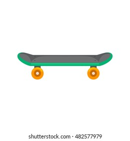 isolated skateboard with wheel for active lifestyle, extreme sport for youth activity, balance street eco transport vector illustration