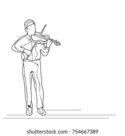 isolated sketch boy playing the violin