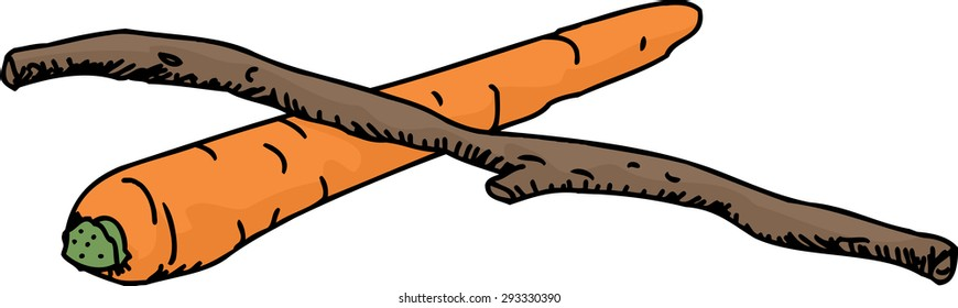 Isolated sketch of carrot and stick over white background
