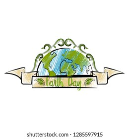 Isolated sketch of an earth day label. Vector illustration design