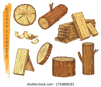 Isolated sketch of wooden elements in color