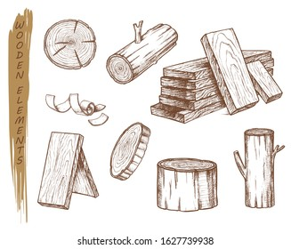 Isolated sketch of wooden elements, vintage lumber