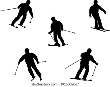 isolated skiers silhouettes - vector illustration