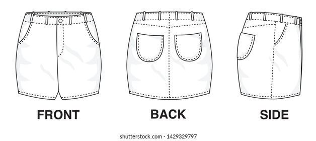 Isolated Skirt Dress object of clothes and fashion stylish wear fill in blank. Regular Leg Casual Trouser Pockets Jeans Illustration Vector Template. Front, back and side view