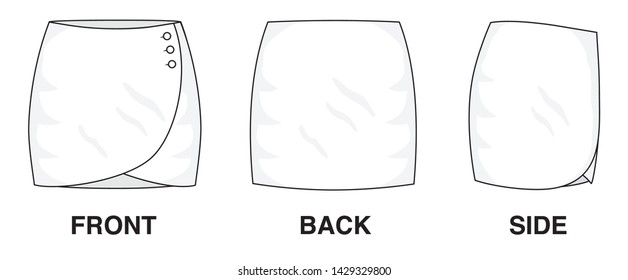 Isolated Skirt Dress object of clothes and fashion stylish wear fill in blank. Regular Leg Casual Trouser Cute Wrap Buttoned Skirt Illustration Vector Template. Front, back and side view