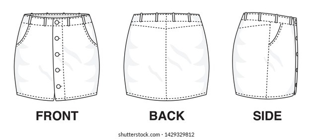 Isolated Skirt Dress object of clothes and fashion stylish wear fill in blank. Regular Leg Casual Trouser Buttoned Jeans Illustration Vector Template. Front, back and side view