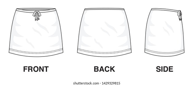 Isolated Skirt Dress object of clothes and fashion stylish wear fill in blank. Regular Leg Casual Trouser Cute Bow Ribbon Skirt Illustration Vector Template. Front, back and side view