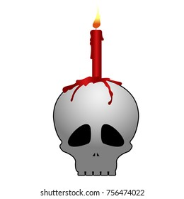 Isolated skull with candle on a white background, vector illustration