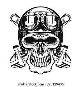 Isolated skull with a helmet and glasses on and wrenches on background.