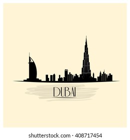 Isolated skyline of Dubai on a colored background