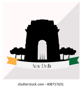 Isolated skyline of New Delhi with a ribbon with text on a colored background
