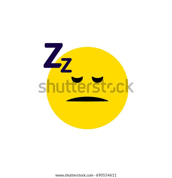Isolated Sleeping Flat Icon. Asleep Vector Element Can Be Used For Sleeping, Asleep, Face Design Concept.