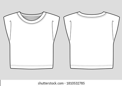 Isolated sleeveless jersey crop top with a round neck and shoulder pads. Fashion Cad design. Flat sketches technical drawings Illustrator vector template.