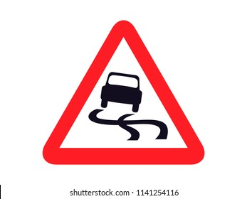 isolated slippery road sign round triangle shape board infographic flat vector design