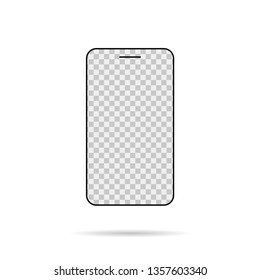Isolated smartphone mock up. Transparent screen. Empty device. EPS 10