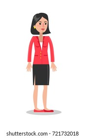 Isolated smiling businesswoman in red jacket on white background.