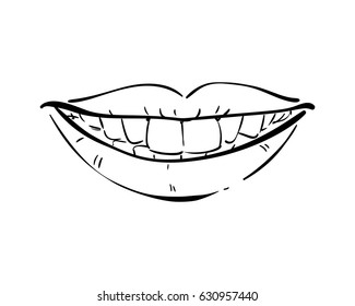 Isolated smiling lips with healthy teeth, Hand drawn line art illustration, Vector sketch