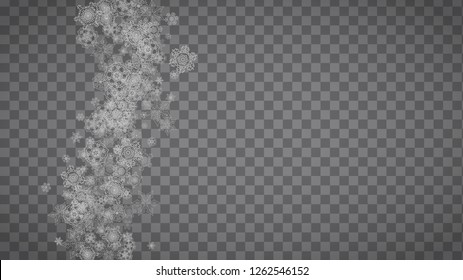 Isolated snowflakes on transparent grey background. Silver glitter snow. Horizontal Christmas and New Year design for party invitation, banner, sale. Winter window. Magic crystal isolated snowflakes