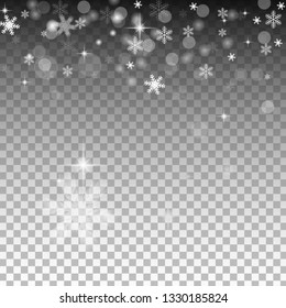 Isolated snowflakes on transparent grey background. Winter sales, Christmas and New Year design for party invitation, banner, sale. Horizontal winter window. Magic isolated snowflakes.