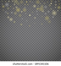 Isolated snowflakes on transparent grey background. Gold glitter snow. Winter sales, Christmas and New Year design for party invitation, banner, sale. Winter window. Magic crystal isolated snowflakes.