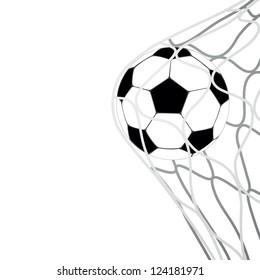 isolated soccer ball in goal net vector