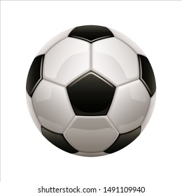 Isolated soccer ball icon. European football white ball with black hexagon. Closeup on game object. Logotype for sport branding or club logo, league emblem, championship badge. Athletic and activity