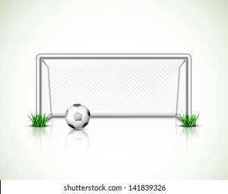 Isolated soccer goal and ball. Illustration contains transparency and blending effects, eps 10