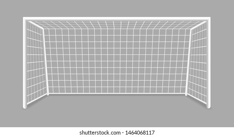 Isolated soccer goal. Footbal goal with shadow isolated on gray background, vector stadium soccergoal illustration, goalkeeper gate for playground
