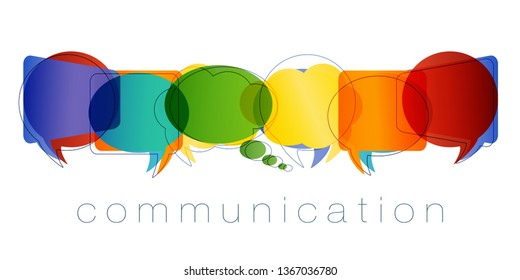 Isolated Speech bubble with rainbow colors and Text communication. Contacts and online marketing. Communication and network concept. Online community. Friends chatting. Vector