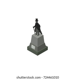 Isolated Statue Isometric. Sculpture Vector Element Can Be Used For Statue, Sculpture, Monument Design Concept.
